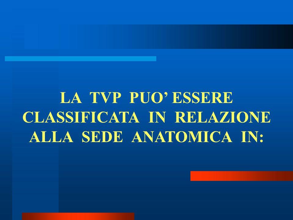 LA TVP PUO' ESSERE CLASSIFICATA IN RELAZIONE ALLA SEDE ANATOMICA IN: