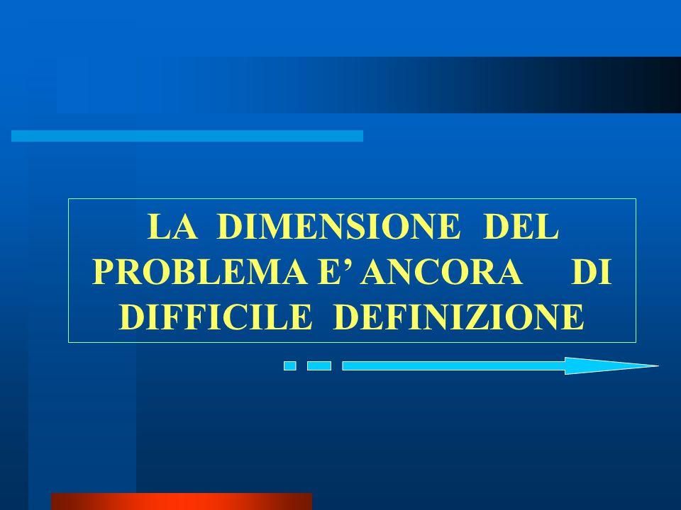 LA DIMENSIONE DEL PROBLEMA E' ANCORA DI DIFFICILE DEFINIZIONE