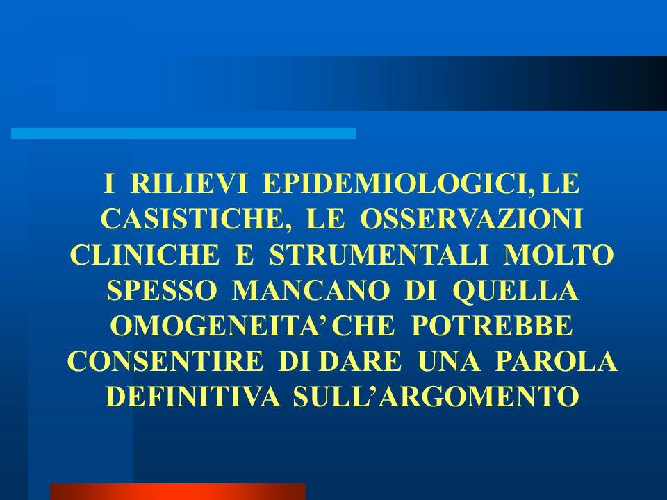 I RILIEVI EPIDEMIOLOGICI, LE CASISTICHE, LE OSSERVAZIONI CLINICHE E STRUMENTALI MOLTO SPESSO MANCANO DI QUELLA OMOGENEITA' CHE POTREBBE CONSENTIRE DI DARE UNA PAROLA DEFINITIVA SULL'ARGOMENTO