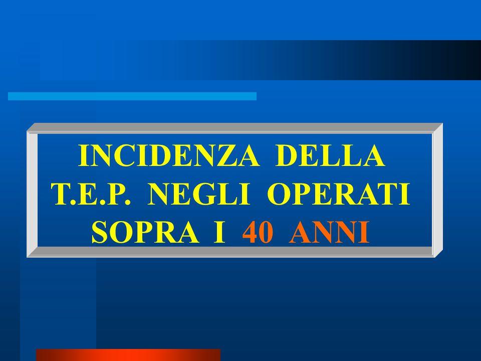 INCIDENZA DELLA T.E.P. NEGLI OPERATI SOPRA I 40 ANNI