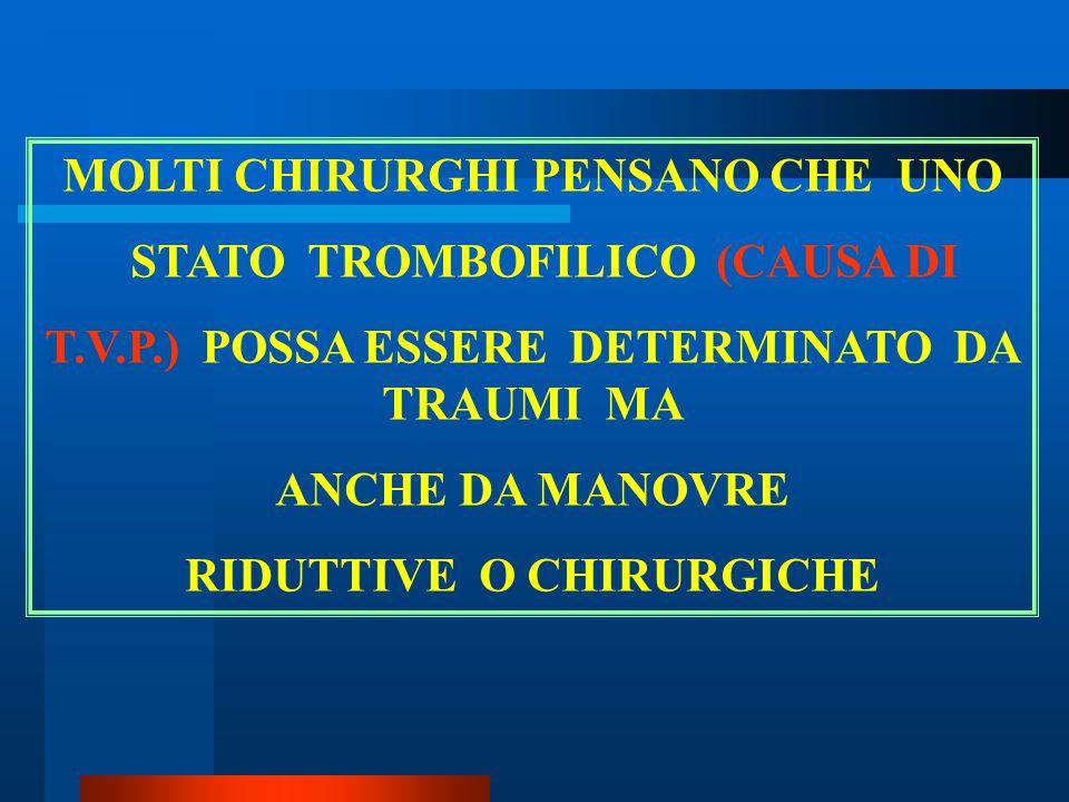 MOLTI CHIRURGHI PENSANO CHE UNO STATO TROMBOFILICO (CAUSA DI