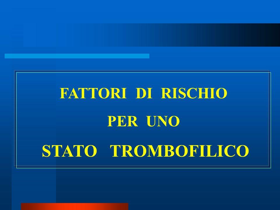 FATTORI DI RISCHIO PER UNO STATO TROMBOFILICO