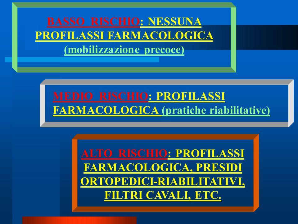BASSO RISCHIO: NESSUNA PROFILASSI FARMACOLOGICA (mobilizzazione precoce)