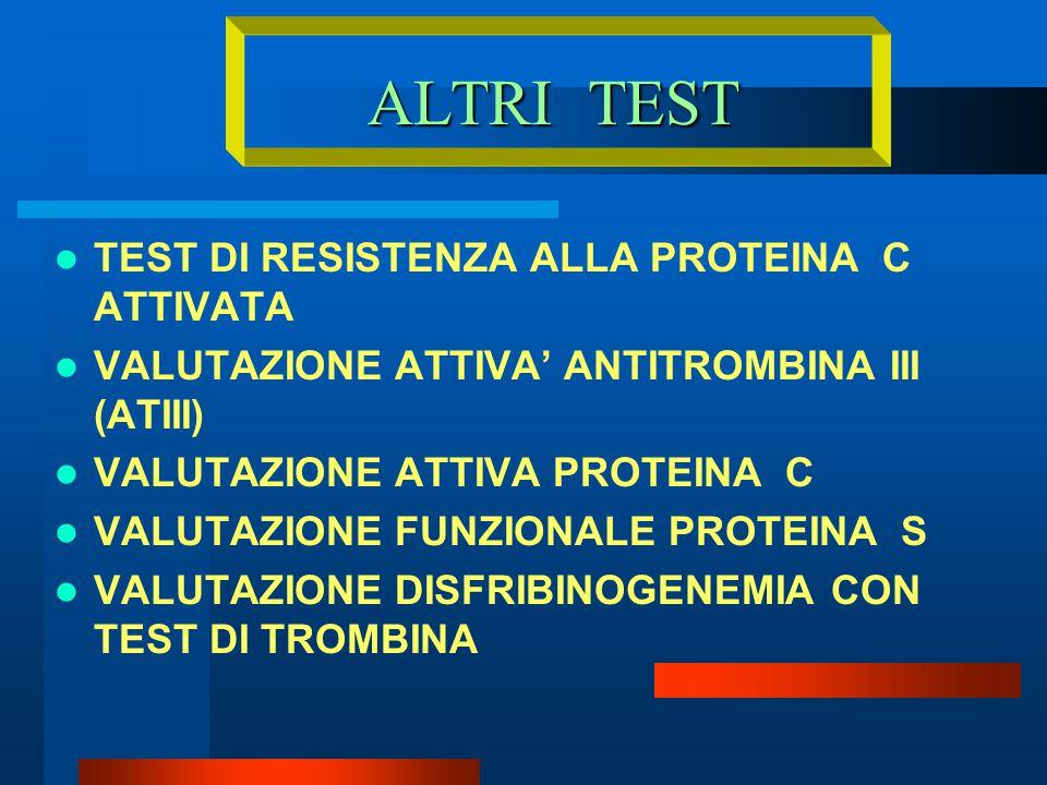 ALTRI TEST TEST DI RESISTENZA ALLA PROTEINA C ATTIVATA