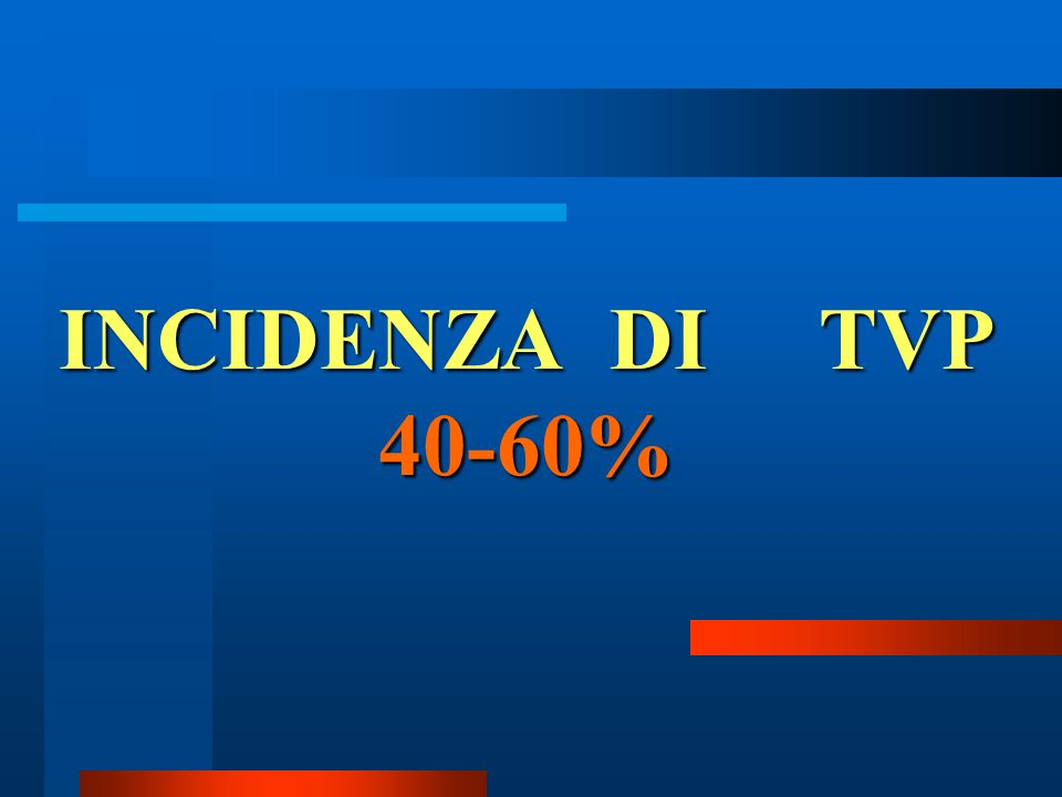 INCIDENZA DI TVP 40-60%