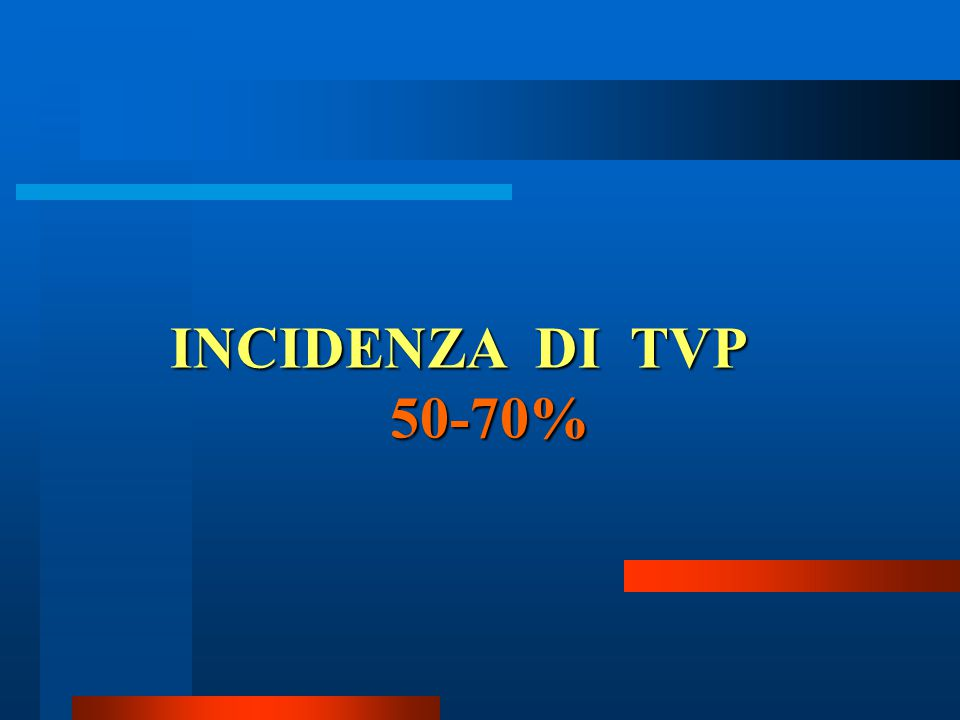 INCIDENZA DI TVP 50-70%