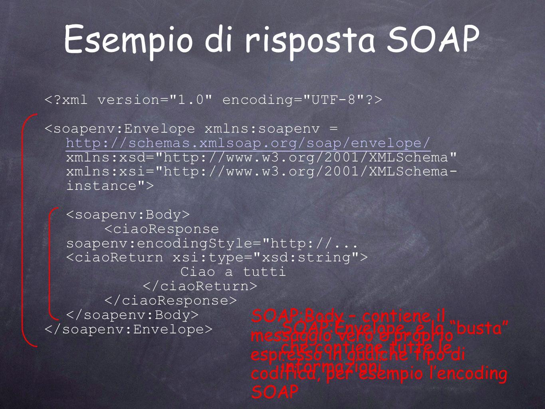Esempio di risposta SOAP