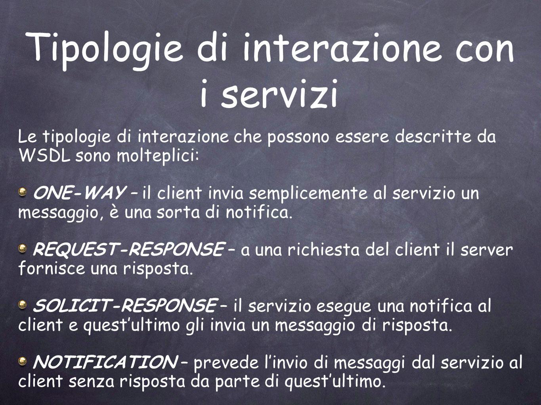 Tipologie di interazione con i servizi