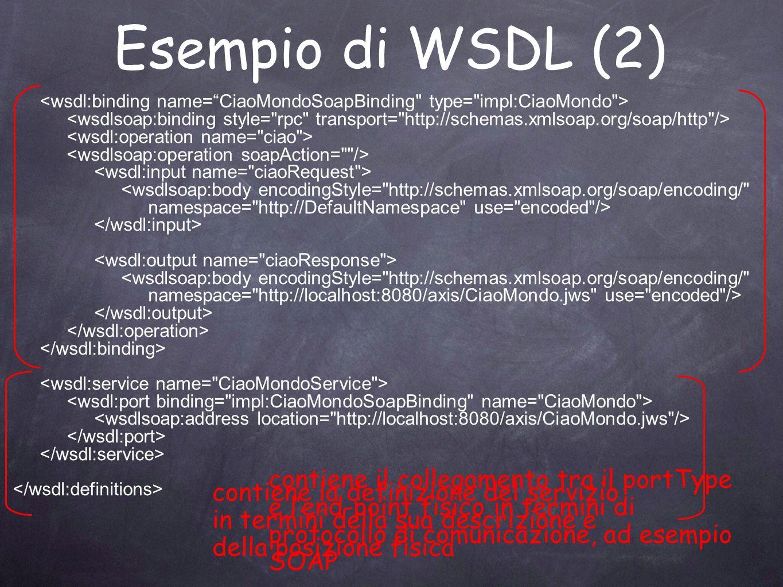 Esempio di WSDL (2) contiene il collegamento tra il portType e l'end-point fisico in termini di protocollo di comunicazione, ad esempio SOAP.