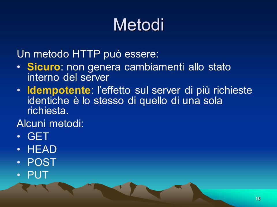 Metodi Un metodo HTTP può essere: