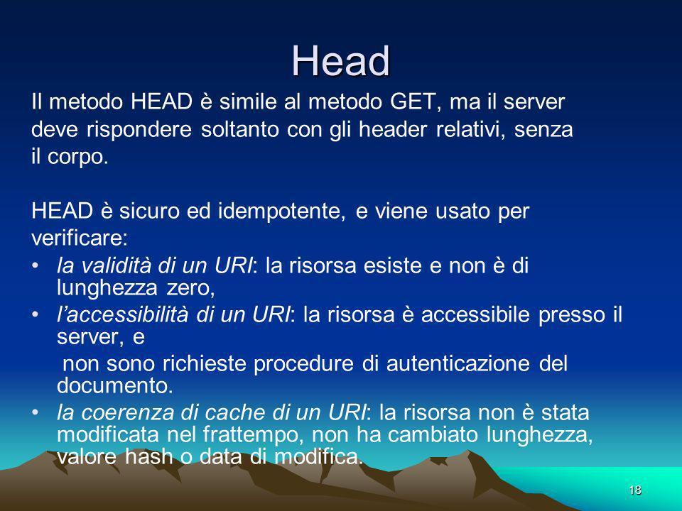 Head Il metodo HEAD è simile al metodo GET, ma il server