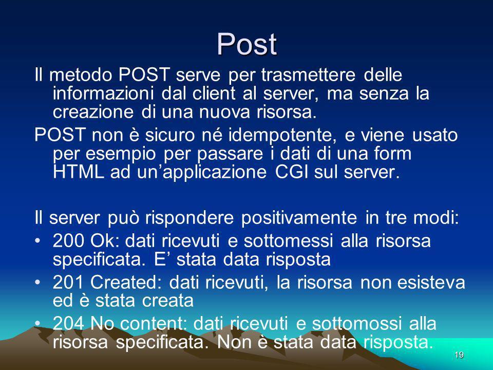 Post Il metodo POST serve per trasmettere delle informazioni dal client al server, ma senza la creazione di una nuova risorsa.