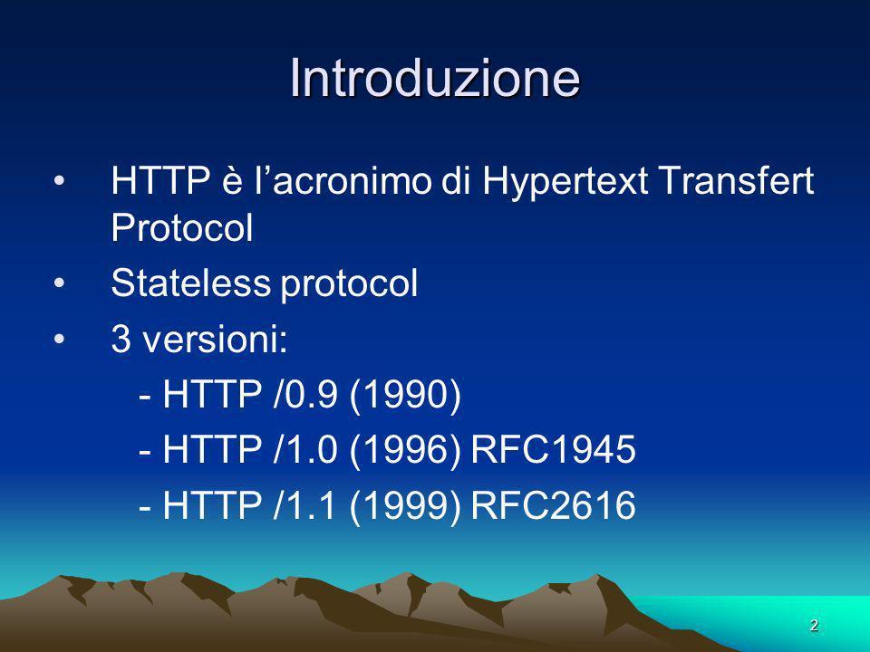 Introduzione HTTP è l'acronimo di Hypertext Transfert Protocol