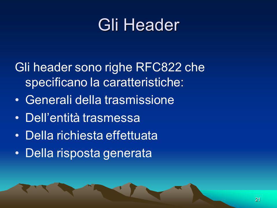 Gli Header Gli header sono righe RFC822 che specificano la caratteristiche: Generali della trasmissione.