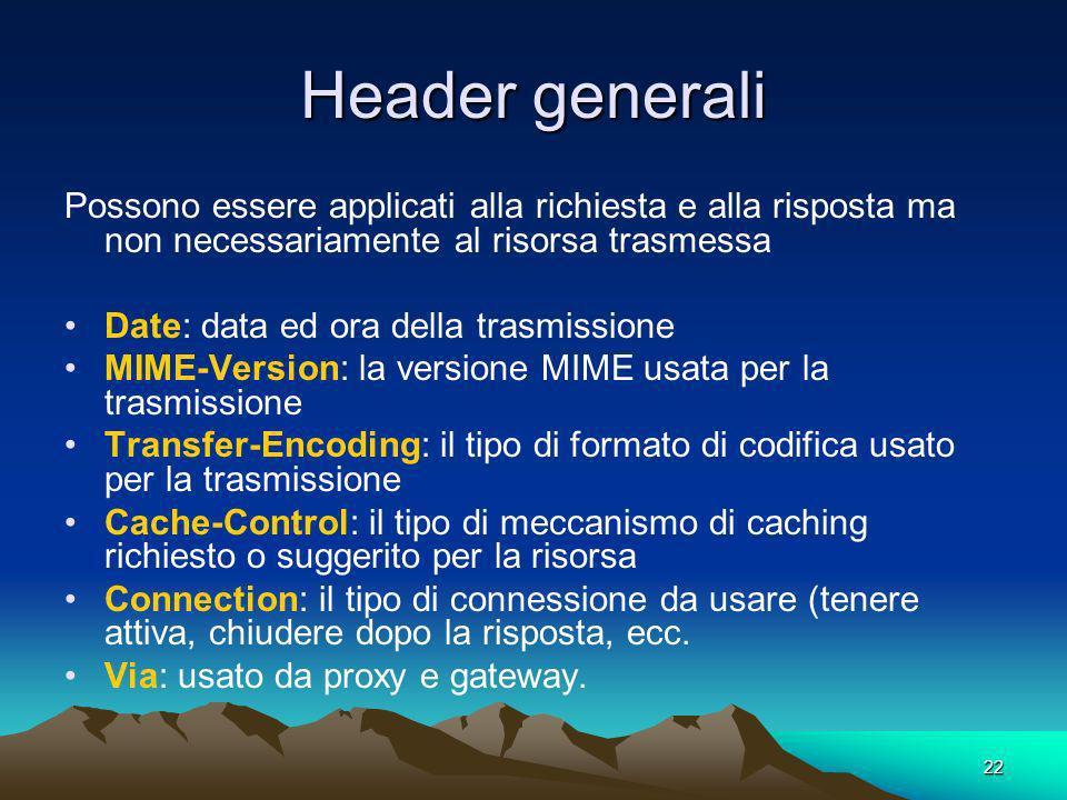Header generali Possono essere applicati alla richiesta e alla risposta ma non necessariamente al risorsa trasmessa.