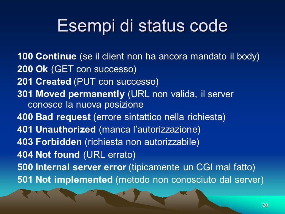 Esempi di status code 100 Continue (se il client non ha ancora mandato il body) 200 Ok (GET con successo)