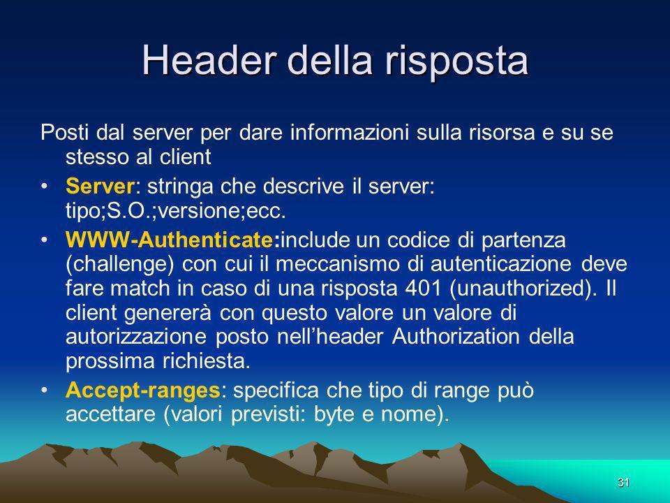 Header della risposta Posti dal server per dare informazioni sulla risorsa e su se stesso al client.