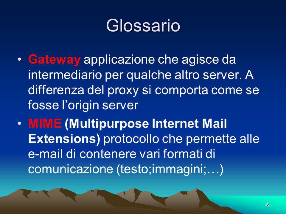Glossario Gateway applicazione che agisce da intermediario per qualche altro server. A differenza del proxy si comporta come se fosse l'origin server.