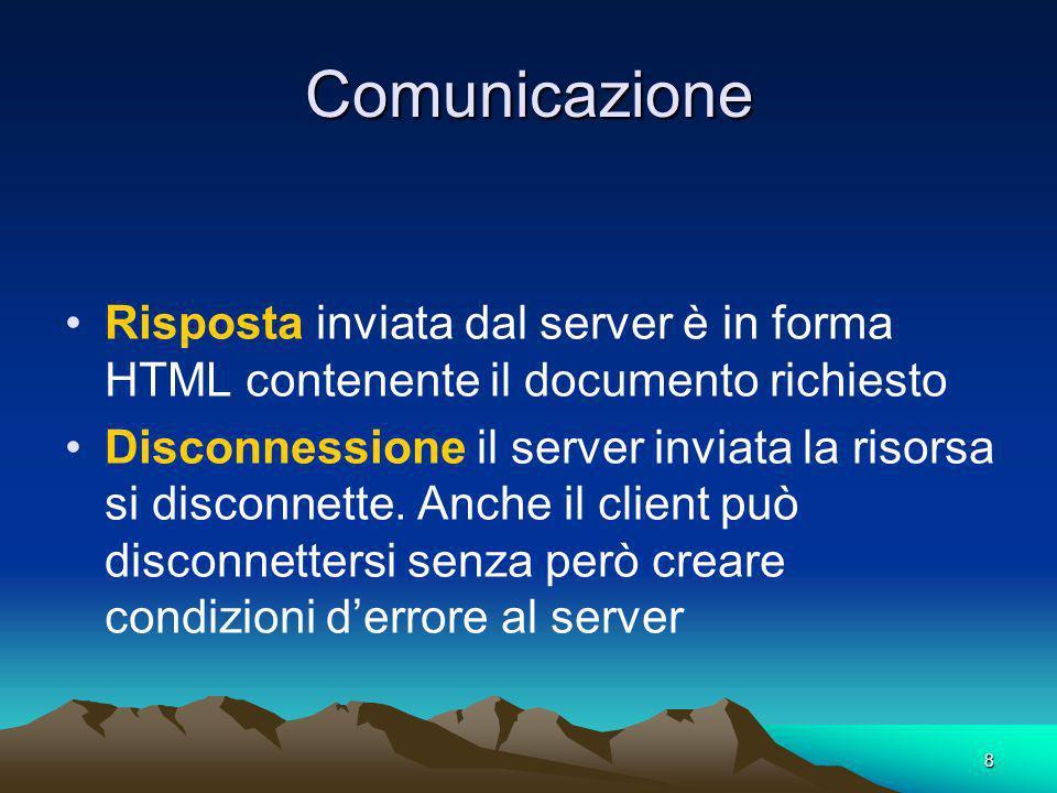 Comunicazione Risposta inviata dal server è in forma HTML contenente il documento richiesto.
