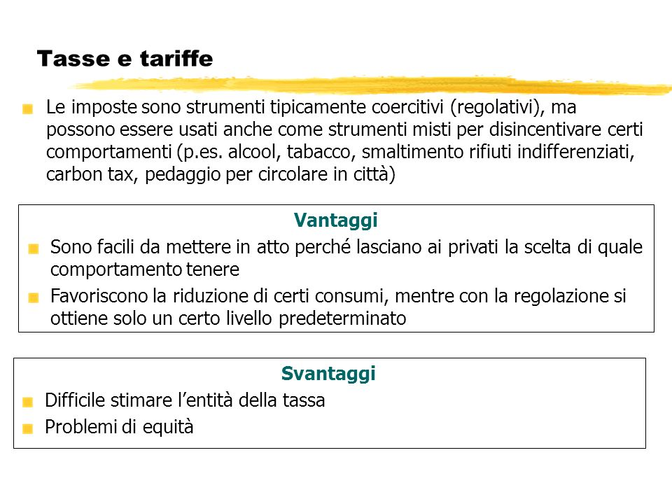 Tasse e tariffe