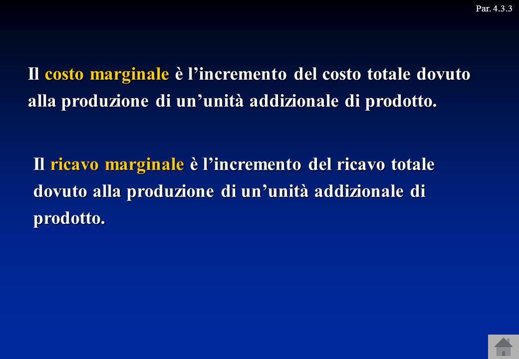 Par. 4.3.3 Il costo marginale è l'incremento del costo totale dovuto alla produzione di un'unità addizionale di prodotto.