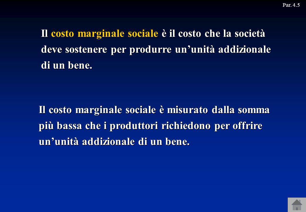 Par. 4.5 Il costo marginale sociale è il costo che la società deve sostenere per produrre un'unità addizionale di un bene.