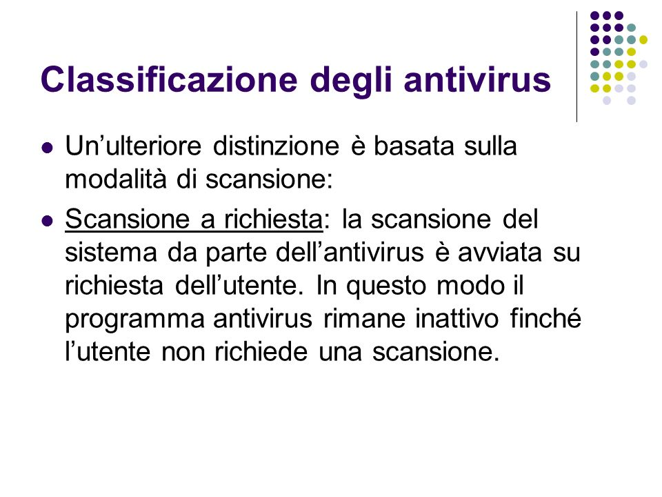 Classificazione degli antivirus