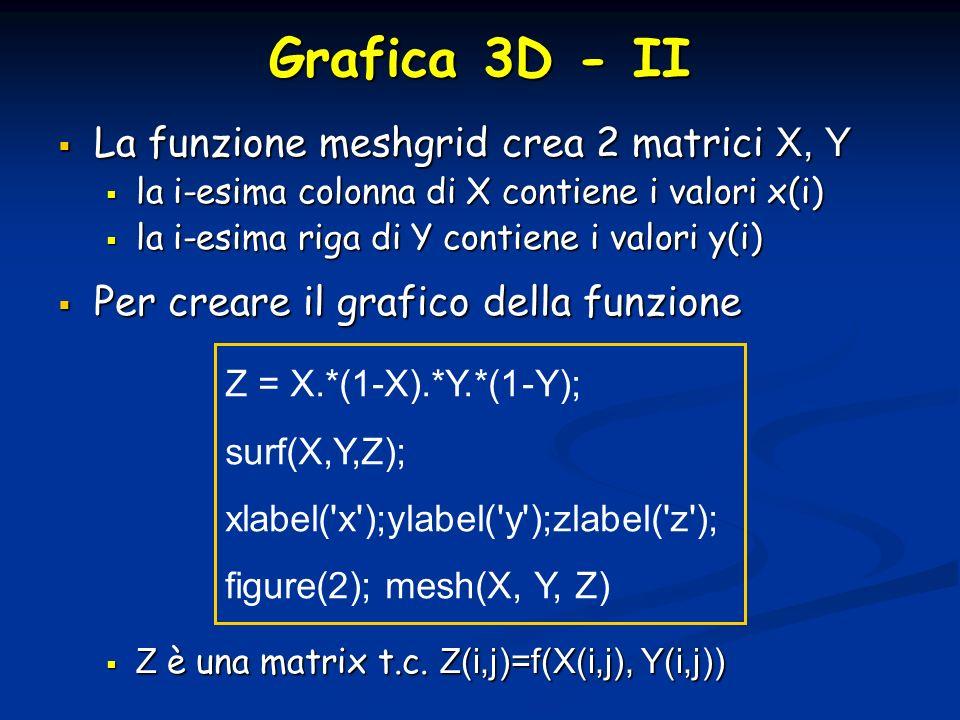 Grafica 3D - II La funzione meshgrid crea 2 matrici X, Y