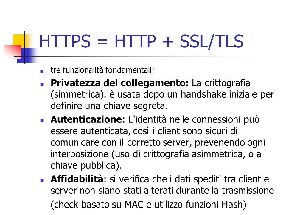 HTTPS = HTTP + SSL/TLS tre funzionalità fondamentali: