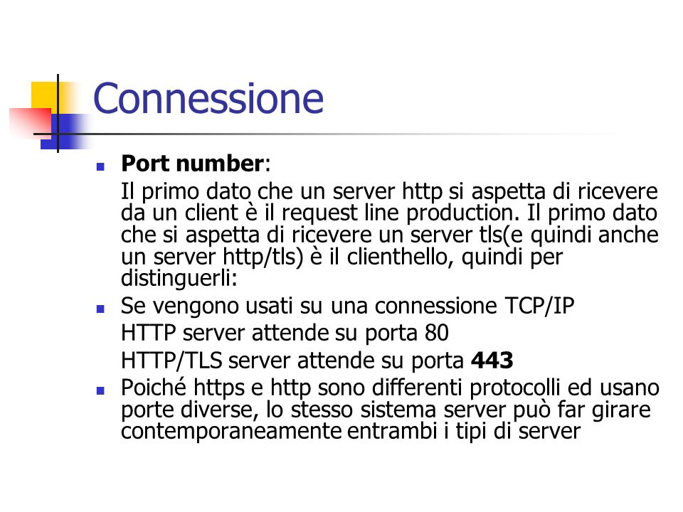 Connessione Port number: