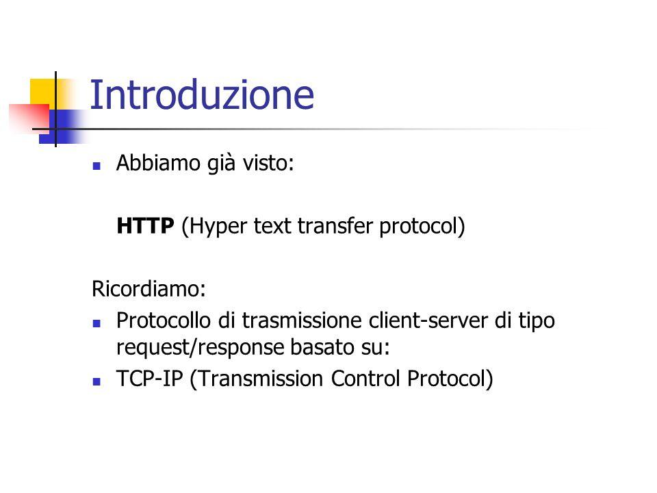 Introduzione Abbiamo già visto: HTTP (Hyper text transfer protocol)