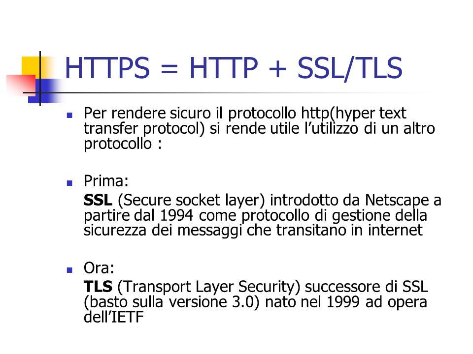 HTTPS = HTTP + SSL/TLS Per rendere sicuro il protocollo http(hyper text transfer protocol) si rende utile l'utilizzo di un altro protocollo :