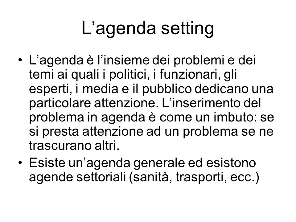 L'agenda setting