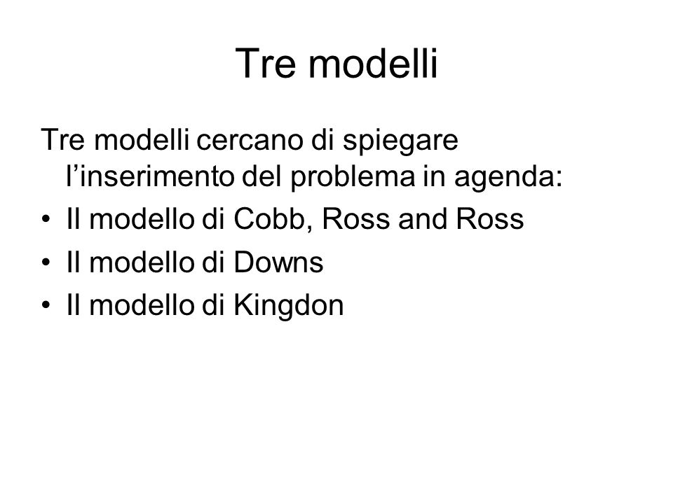 Tre modelli Tre modelli cercano di spiegare l'inserimento del problema in agenda: Il modello di Cobb, Ross and Ross.