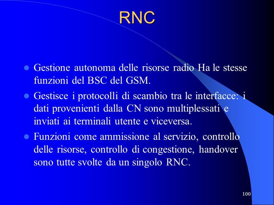 RNC Gestione autonoma delle risorse radio Ha le stesse funzioni del BSC del GSM.