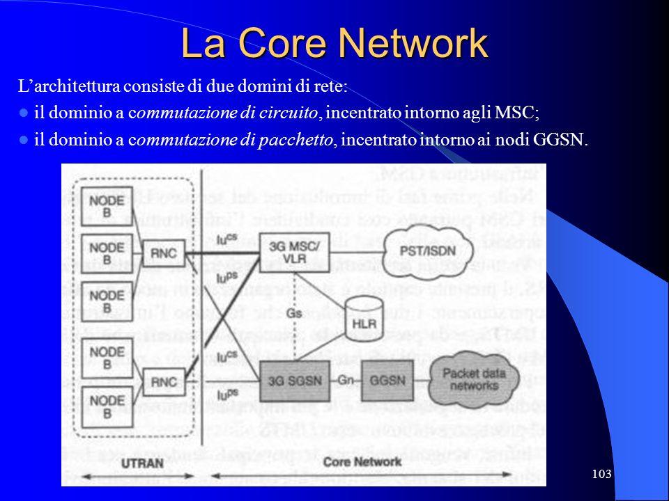 La Core Network L'architettura consiste di due domini di rete: