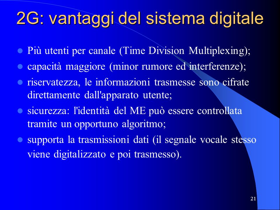 2G: vantaggi del sistema digitale