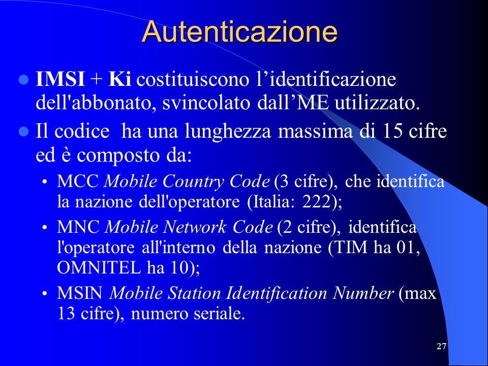 Autenticazione IMSI + Ki costituiscono l'identificazione dell abbonato, svincolato dall'ME utilizzato.