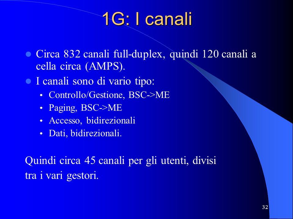 1G: I canali Circa 832 canali full-duplex, quindi 120 canali a cella circa (AMPS). I canali sono di vario tipo: