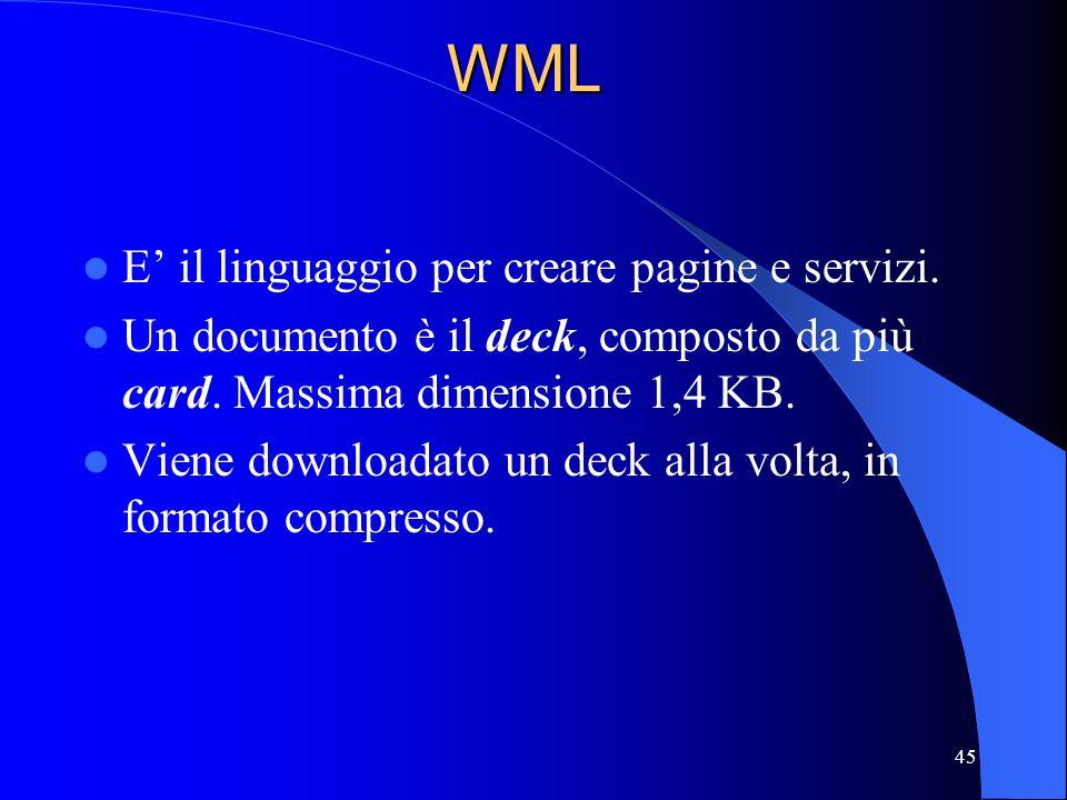 WML E' il linguaggio per creare pagine e servizi.