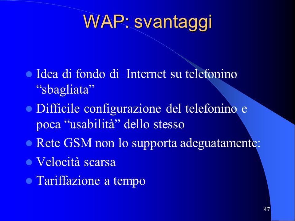 WAP: svantaggi Idea di fondo di Internet su telefonino sbagliata