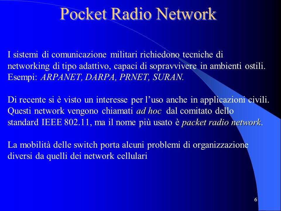 Pocket Radio Network I sistemi di comunicazione militari richiedono tecniche di.