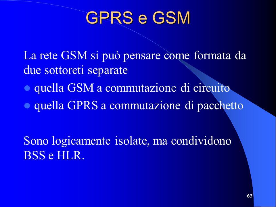GPRS e GSM La rete GSM si può pensare come formata da due sottoreti separate. quella GSM a commutazione di circuito.