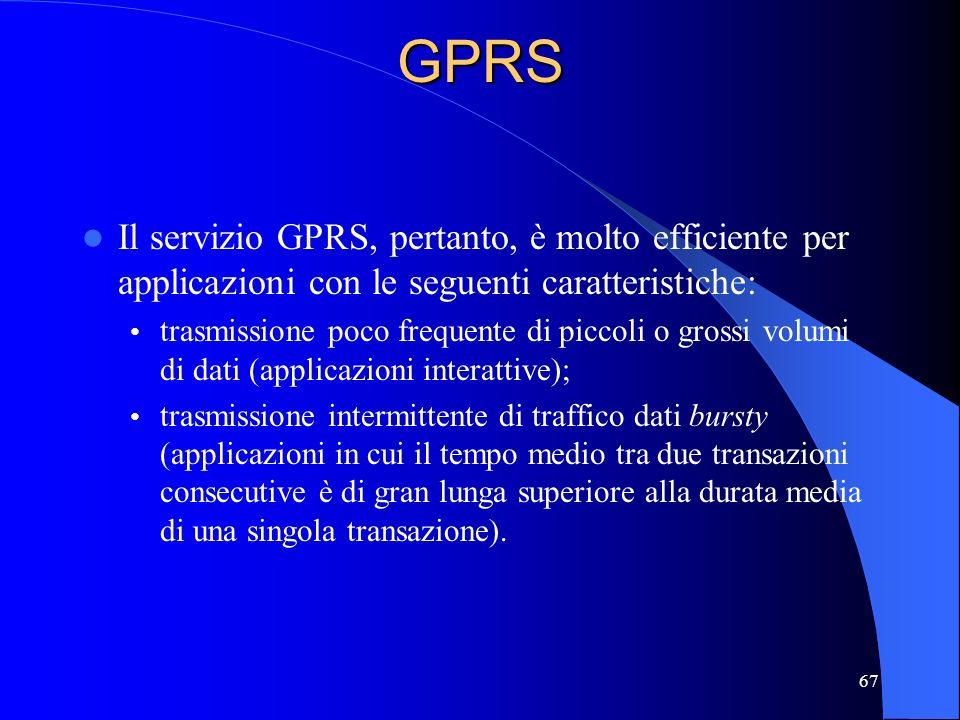 GPRS Il servizio GPRS, pertanto, è molto efficiente per applicazioni con le seguenti caratteristiche: