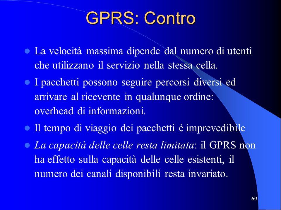 GPRS: Contro La velocità massima dipende dal numero di utenti che utilizzano il servizio nella stessa cella.