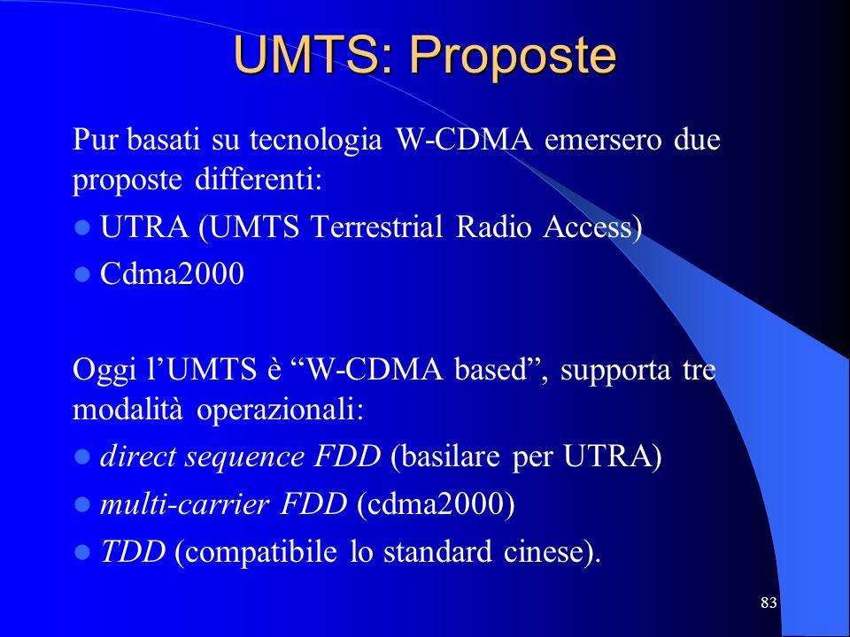 UMTS: Proposte Pur basati su tecnologia W-CDMA emersero due proposte differenti: UTRA (UMTS Terrestrial Radio Access)