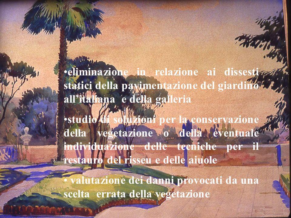 eliminazione in relazione ai dissesti statici della pavimentazione del giardino all'italiana e della galleria