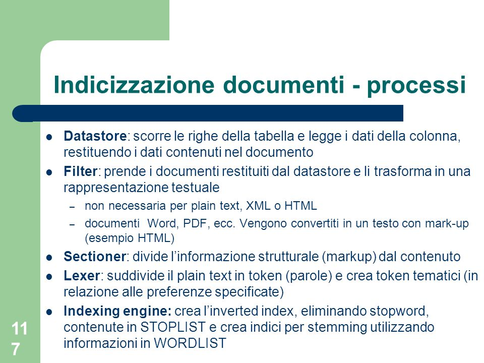 Indicizzazione documenti - processi