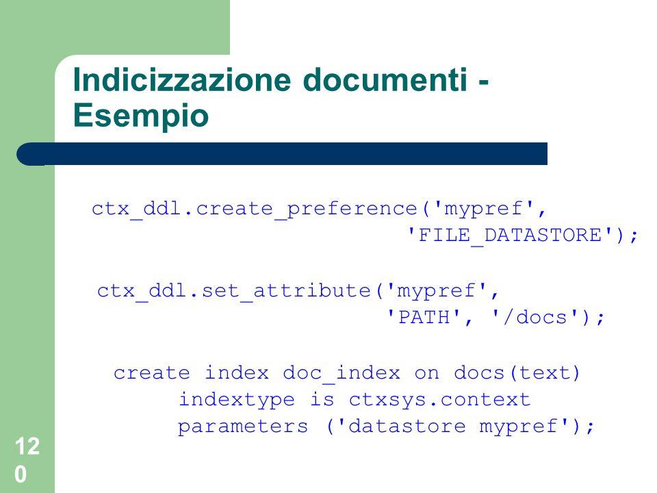 Indicizzazione documenti - Esempio