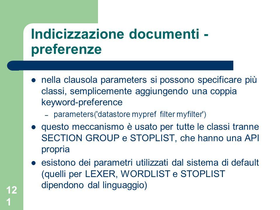 Indicizzazione documenti - preferenze